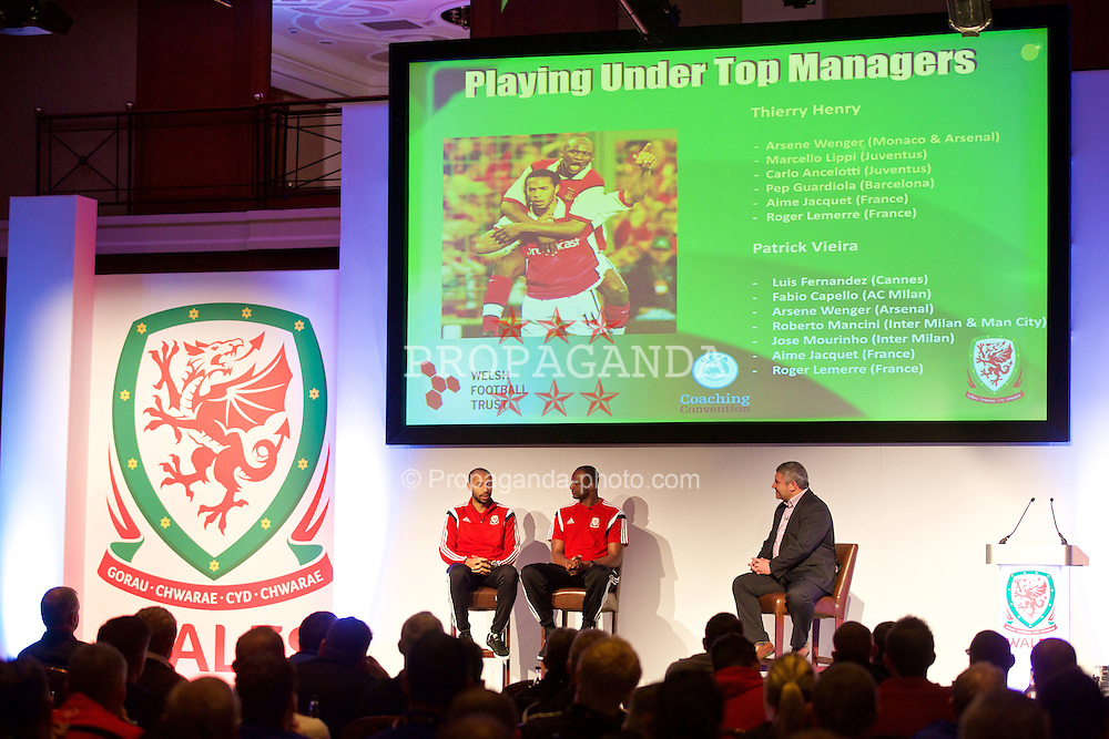 NEWPORT, WALES - Saturday, May 30, 2015: Thierry Henry and Patrick Vieira with Wales' Osian Roberts during the Football Association of Wales' National Coaches Conference 2015 at the Celtic Manor Resort. (Pic by David Rawcliffe/Propaganda)