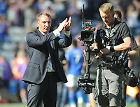 Football - 2019 / 2020 Premier League - Leicester City vs. Tottenham Hotspur<br /> <br /> Leicester Manager, Brendan Rodgers celebrates at the final whistle at The King Power Stadium.<br /> <br /> COLORSPORT/ANDREW COWIE