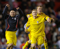 Manchester, England - Thursday, April 26, 2007: Liverpool's Robbie Threlfall and Stephen Darby celebrate after beating Manchester United on penalties to win the FA Youth Cup for the second successive year during the FA Youth Cup Final 2nd Leg at Old Trafford. (Pic by David Rawcliffe/Propaganda)