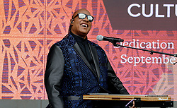 """Stevie Wonder performs """"Visions"""" during the opening ceremony of the Smithsonian National Museum of African American History and Culture in Washington, DC, USA on September 24, 2016. The museum is opening thirteen years after Congress and President George W. Bush authorized its construction. Photo by Olivier Douliery/ABACAPRESS.COM"""
