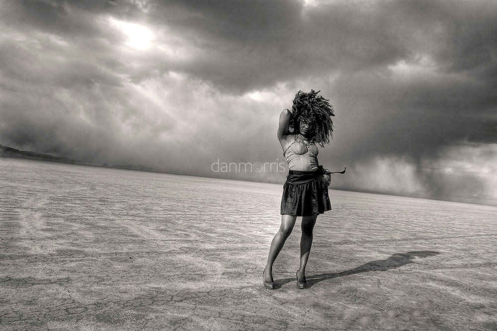 African American woman isolated in Bonneville Salt Flats, Wendover, Nevada