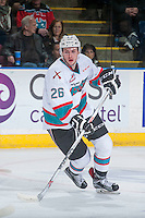 KELOWNA, CANADA - JANUARY 30: Cole Linaker #26 of Kelowna Rockets skates against the Victoria Royals] on January 30, 2016 at Prospera Place in Kelowna, British Columbia, Canada.  (Photo by Marissa Baecker/Shoot the Breeze)  *** Local Caption *** Cole Linaker;