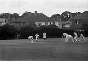 18/07/1970<br /> 07/18/1970<br /> 18 July 1970<br /> Cricket: Clontarf 1st XI v Old Belvedere, Leinster Senior Cup Final at Clontarf Cricket Club, Dublin. Frank O'Hanlon (centre), Old Belvedere, batting. Wicket keeper is Fergus Carroll, Clontarf Captain.
