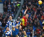 Birmingham City defender Michael Morrison gets the better of Brighton striker Tomer Hemed during the Sky Bet Championship match between Brighton and Hove Albion and Birmingham City at the American Express Community Stadium, Brighton and Hove, England on 28 November 2015. Photo by Bennett Dean.