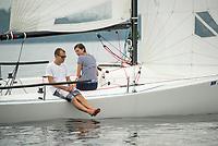 This couple enjoys a calm sail on Lake Winnipesaukee.  (Karen Bobotas/for the Laconia Daily Sun)