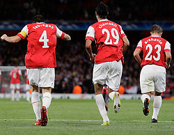 15.09.2010, Emirates Stadium, London, ENG, UEFA CL, Arsenal fc vs Sporting Braga, im Bild .Arsenal's Cesc Fabregas (captain) makes 4-0 with this header and celebrates with co-scorers Arsenal's Andrei Arshavin and Arsenal's Marouane Chamakh    during Arsenal fc vs Sporting Braga for the UCL  Group  H at the Emirates Stadium in London. EXPA Pictures © 2010, PhotoCredit: EXPA/ IPS/ Marcello Pozzetti +++++ ATTENTION - OUT OF ENGLAND/UK +++++ / SPORTIDA PHOTO AGENCY