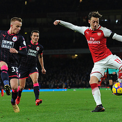 Mesut Özil of Arsenal has a shot during Arsenal vs Huddersfield, Premier League, 29.11.17 (c) Harriet Lander | SportPix.org.uk