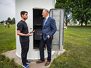 03 JUNE 2019 - ANKENY, IOWA: Governor JAY INSLEE, (D-WA), right, talks to DAVID RAPOSA, a student in the wind turbine program, during a tour at DMACC Monday. Governor Inslee is running to be the Democratic candidate for the US Presidency in 2020, He has made climate change a central point of his campaign and he toured a wind turbine program at the Des Moines Area Community College (DMACC) in Ankeny. Iowa generates more than 35% of its electrical needs through wind power. Iowa traditionally hosts the the first election event of the presidential election cycle. The Iowa Caucuses will be on Feb. 3, 2020.                        PHOTO BY JACK KURTZ