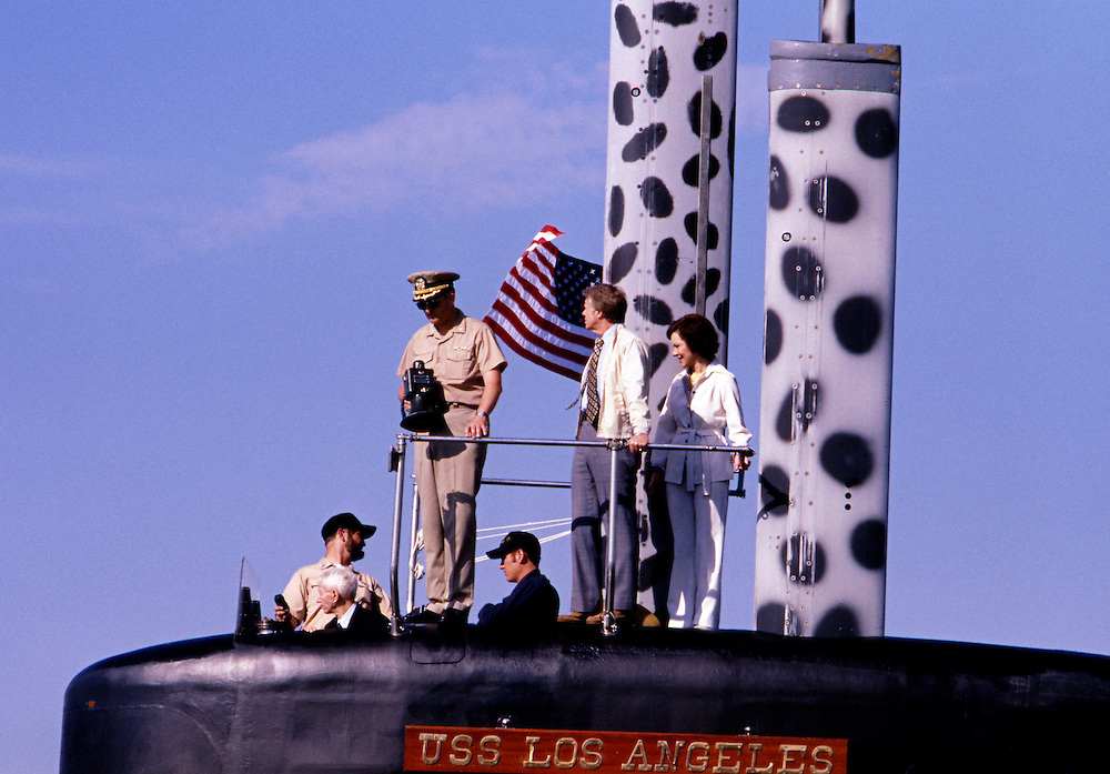 "President Jimmy Carter, First Lady Rosalynn Carter and Admiral Hyman Rickover - known as ""the Father of the Nuclear Navy "", board the US nuclear submarine Los Angeles at Port Canaveral, Florida. After boarding, the Los Angeles departed for an afternoon of sea trials. President Carter served under Rickover during his Naval career. - To license this image, click on the shopping cart below -"
