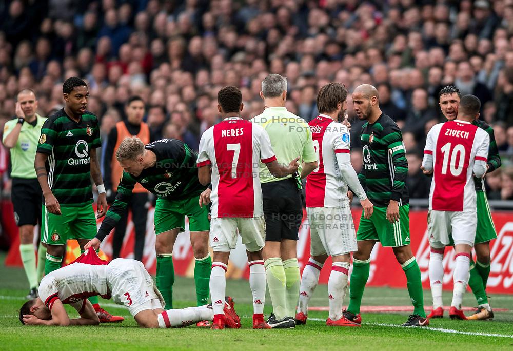 21-01-2018 NED: AFC Ajax - Feyenoord, Amsterdam<br /> Ajax was met 2-0 te sterk voor Feyenoord / Opstootje met Karim El Ahmadi #8 of Feyenoord, Lasse Schone #20 of AFC Ajax als Nicolai Jorgensen #9 of Feyenoord, Joel Veltman #3 of AFC Ajax neerhaalt. Nicolai Jorgensen #9 of Feyenoord krijgt zijn tweede gele en mag met rood van het veld.