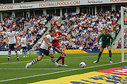 Bailey Wright holds off Tomas Kalas during the Sky Bet Championship match between Preston North End and Middlesbrough at Deepdale, Preston, England on 9 August 2015. Photo by Simon Davies.