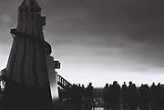 Crowd on Brighton pier, UK, 1986.