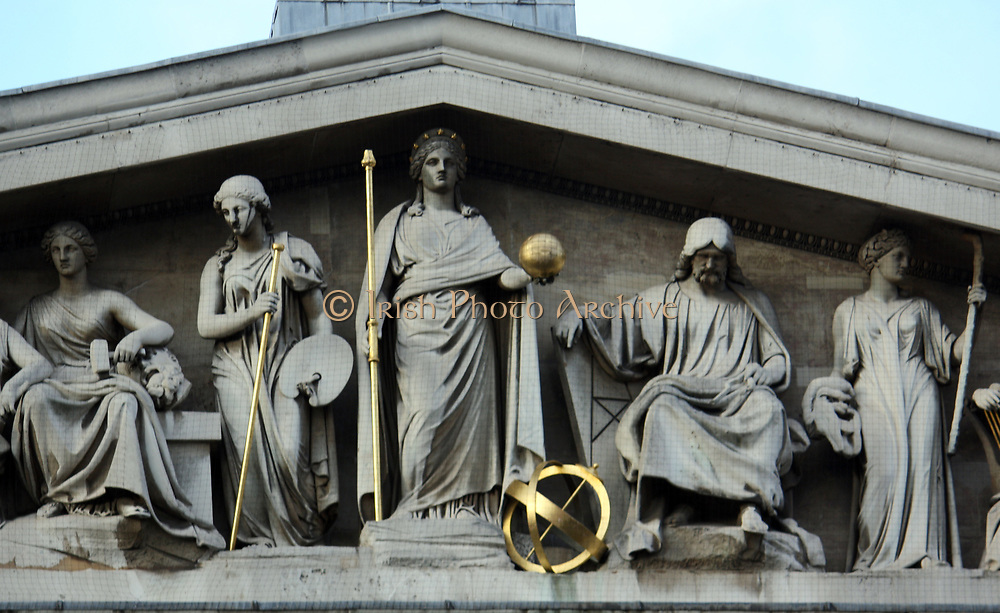 Neo classical relief depicting Greek style figures of learning and the Arts. from the Portico of the British Museum London.