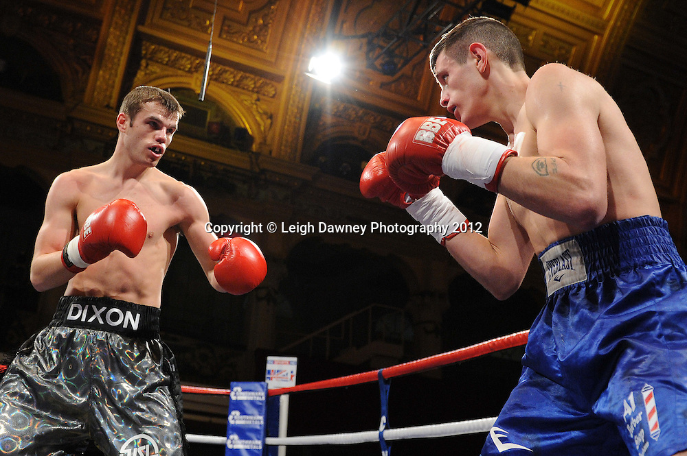 Robert Dixon (silver shorts) defeats Liam Griffiths in a contest at The Winter Gardens, Blackpool on the 31st March 2012. Frank Maloney and Steve Wood VIP Promotions. © Leigh Dawney Photography 2012.