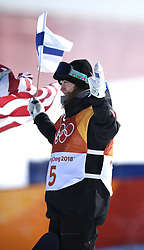 February 11, 2018 - Pyeongchang, South Korea - ENNI RUKAJARVI celebrates her bronze medal win in the Womens Snowboard Slopestyle finals Monday, February 12, 2018 at Phoenix Snow Park at the Pyeongchang Winter Olympic Games.  Photo by Mark Reis, ZUMA Press/The Gazette (Credit Image: © Mark Reis via ZUMA Wire)