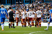 Bradford City players celebrate a goal from Bradford City Forward Dominic Poleon (11) (score 0-1) during the EFL Sky Bet League 1 match between Gillingham and Bradford City at the MEMS Priestfield Stadium, Gillingham, England on 12 August 2017. Photo by Andy Walter.