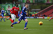 Ipswich striker Freddie Sears bursting into the box to score Ipswich second goal to take the score 2-0 during the Sky Bet Championship match between Charlton Athletic and Ipswich Town at The Valley, London, England on 28 November 2015. Photo by Matthew Redman.
