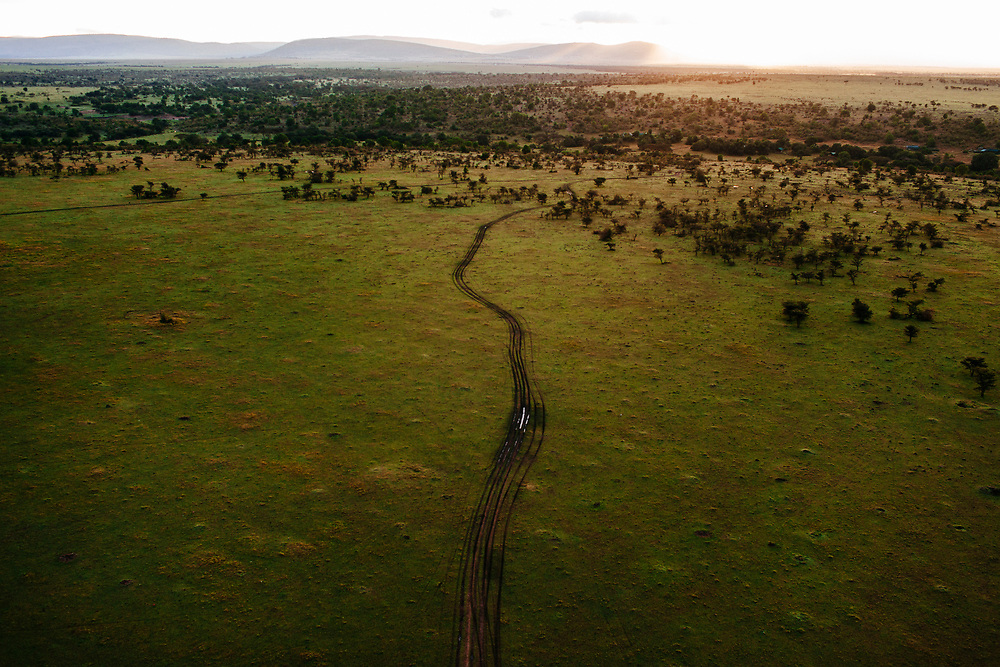 A winding road in the deserts of Kenya.