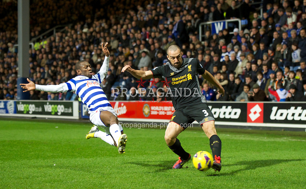 LONDON, ENGLAND - Sunday, December 30, 2012: Liverpool's Jose Enrique in action against Queens Park Rangers during the Premiership match at Loftus Road. (Pic by David Rawcliffe/Propaganda)
