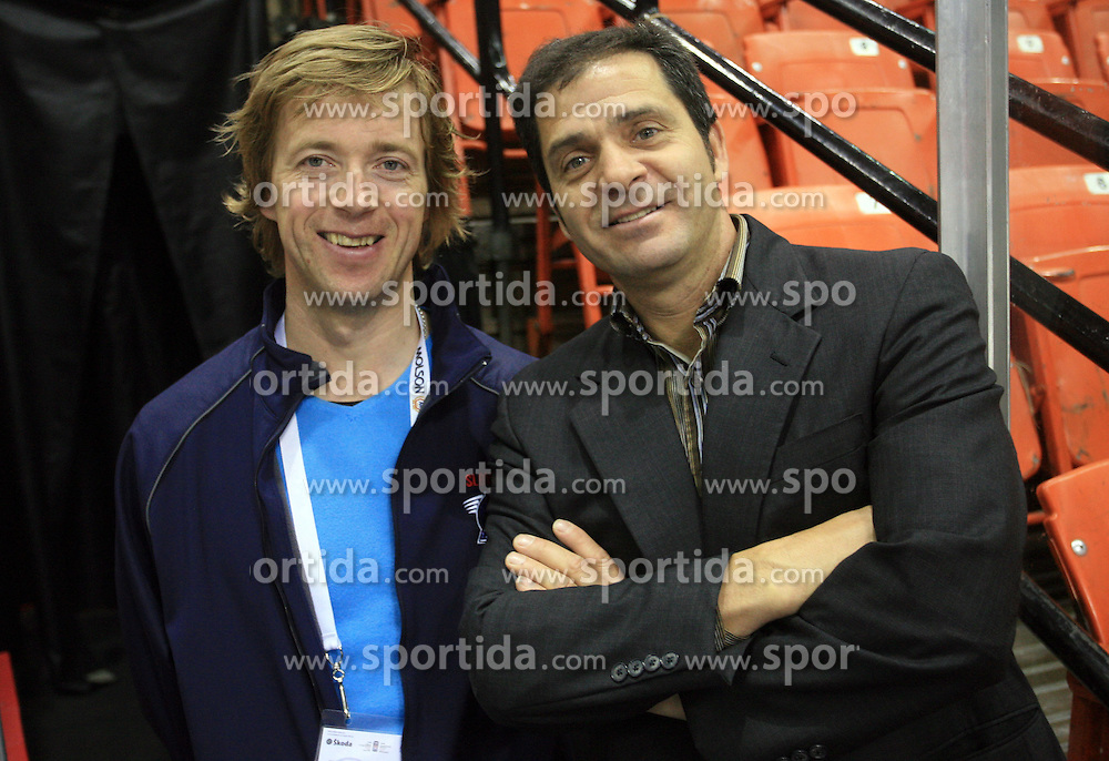 Andrej Brodnik, member of staff of Slovenia ice-hockey team and Marko Ponikvar of IIHF volunteer during practice at Hockey IIHF WC 2008 in Halifax,  on May 06, 2008 in Metro Center, Halifax, Canada.  (Photo by Vid Ponikvar / Sportal Images)