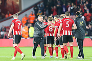 Sheffield United Manager Chris Wilder congratulates his players following Sheffield United's victory over Arsenal  in  the Premier League match between Sheffield United and Arsenal at Bramall Lane, Sheffield, England on 21 October 2019.