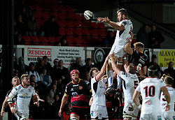 Ulster's Alan O'Connor claims the lineout<br /> <br /> Photographer Simon King/Replay Images<br /> <br /> Guinness Pro14 Round 10 - Dragons v Ulster - Friday 1st December 2017 - Rodney Parade - Newport<br /> <br /> World Copyright © 2017 Replay Images. All rights reserved. info@replayimages.co.uk - www.replayimages.co.uk