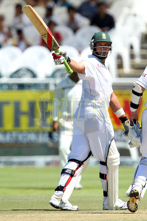 Jacques Kallis of South Africa  celebrates his fifty during day 4 of the 3rd test between South Africa and India held at Sahara Park Newlands Stadium in Cape Town on the 5 January 2011..Photo by Ron Gaunt/BCCI/SPORTZPICS