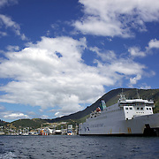 The Wellington to Picton ferry at Picton Harbour. Picton, New Zealand.  27th January 2011.Photo Tim Clayton.