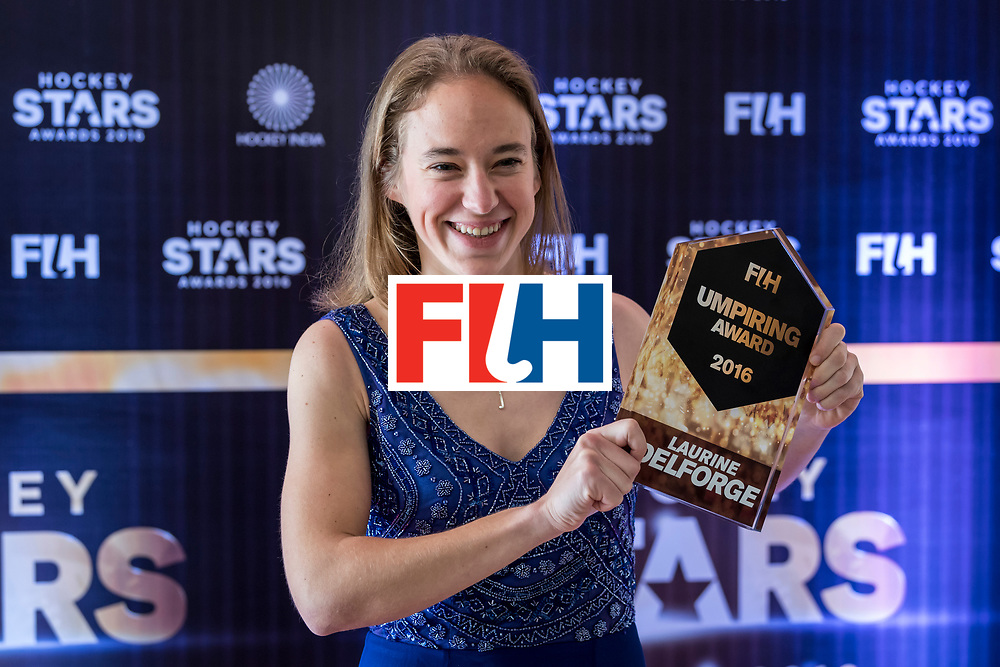 CHANDIGARH, INDIA - FEBRUARY 23: FIH Female Umpiring Award Winner Laurine Delforge of Belgium poses for a picture during the FIH Hockey Stars Awards 2016 at Lalit Hotel on February 23, 2017 in Chandigarh, India. (Photo by Ali Bharmal/Getty Images for FIH)