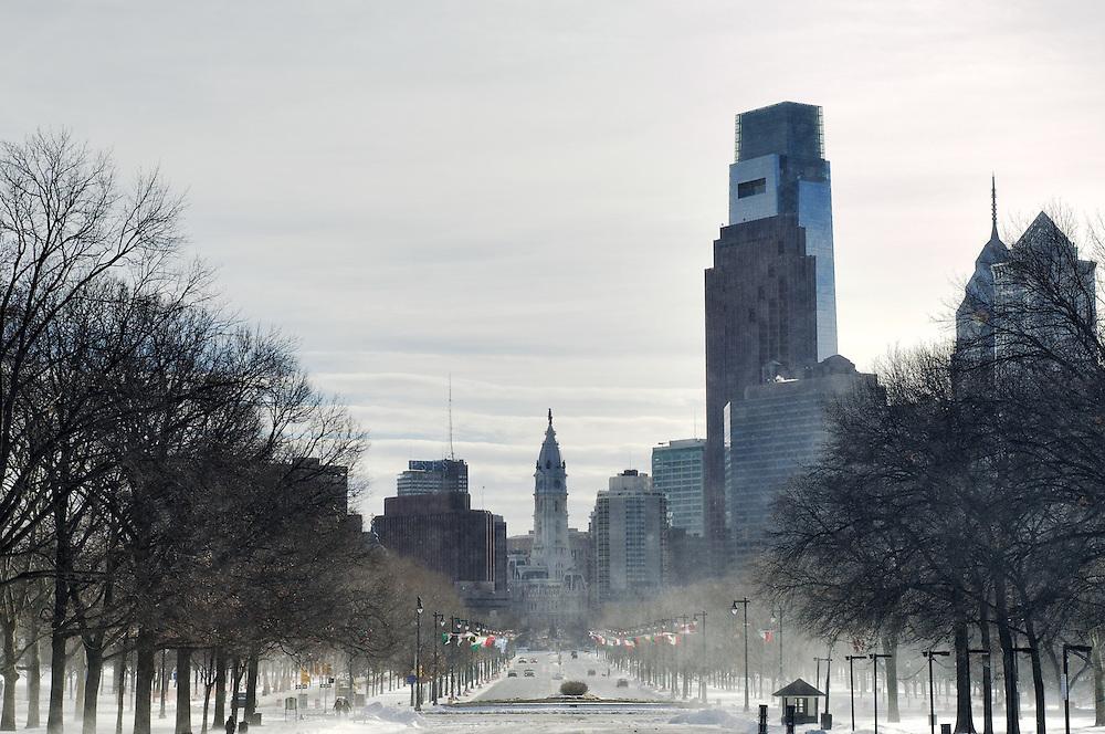 Benjamin Franklin Parkway, Philadelphia PA, USA - December 27 2010; Snow drift and center city skyline seen from the steps (aka Rocky Steps) of the Philadalephia Art Museum