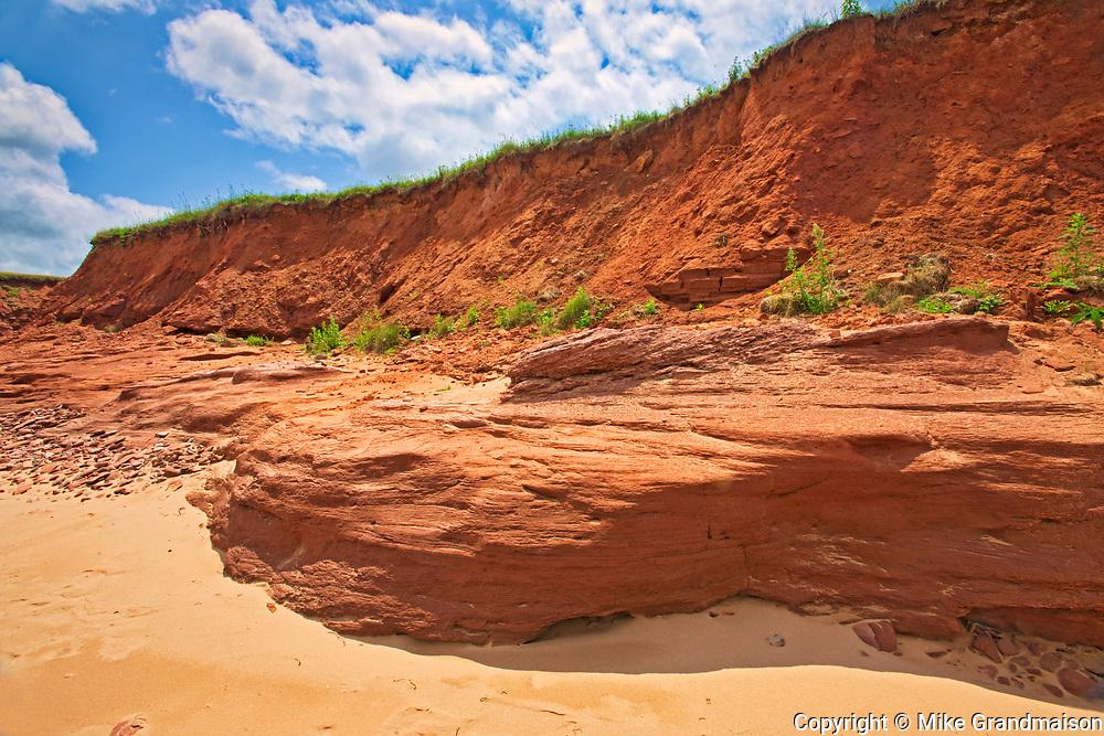 Red sandstone cliffs along the Gulf of St. Lawrence.<br />Park Corner<br />Prince Edward Island<br />Canada