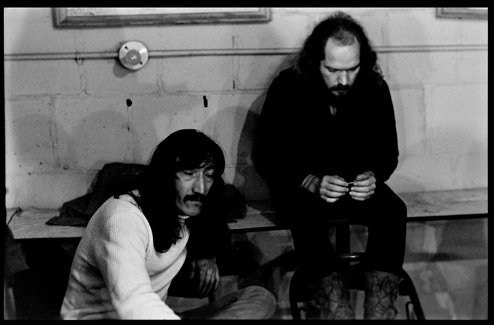 Fall River, Masachusetts - 18 February 1968. (Left to right) Jimmy Carl Black, and Ray Collins of the Mothers of Invention backstage prior to a performance.