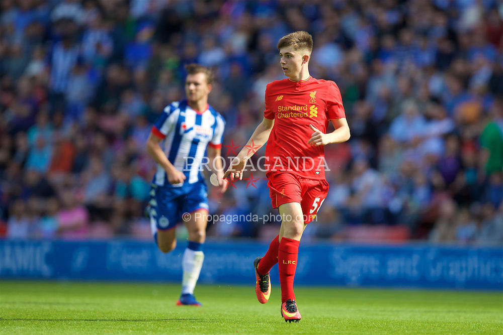 WIGAN, ENGLAND - Sunday, July 17, 2016: Liverpool's Ben Woodburn in action against Wigan Athletic during a pre-season friendly match at the DW Stadium. (Pic by David Rawcliffe/Propaganda)