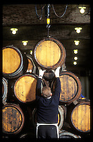 loading barrels of aging Champagne at the Krug winery in Reims, France - Photograph by Owen Franken