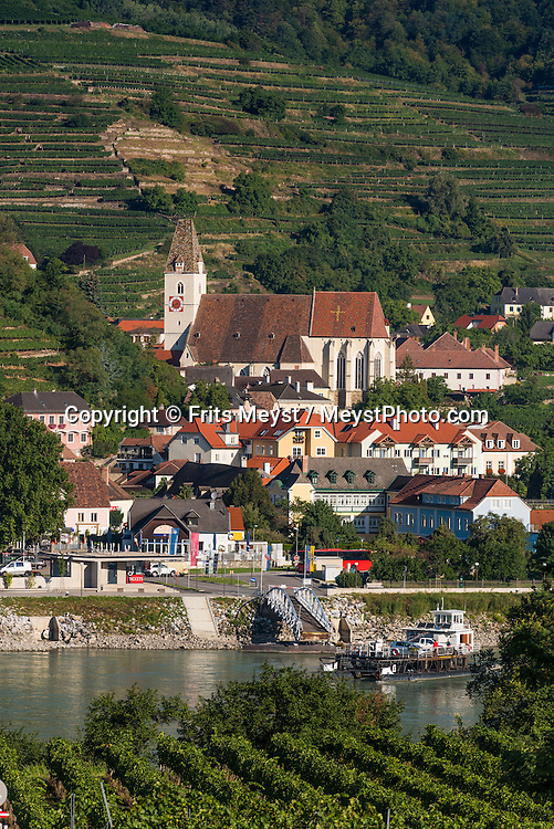 Weissenkirche, Danube, Lower Austria, September 2015.  Weißenkirchen in der Wachau is a town in the district of Krems-Land in the Austrian state of Lower Austria.Austria's most spectacular section of the Danube is the dramatic stretch of river between Krems an der Donau and Melk, known as the Wachau. Here the landscape is characterised by vineyards, forested slopes, wine-producing villages and imposing fortresses at nearly every bend. The Wachau is today a Unesco World Heritage site, due to its harmonious blend of natural and cultural beauty. Photo by Frits Meyst / MeystPhoto.com