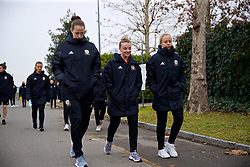 BOLOGNA, ITALY - Tuesday, January 22, 2019: Wales' L-R goalkeeper Claire Skinner, Kylie Nolan and Nadia Lawrence during a pre-match walk at the team hotel in Bologna ahead of the International Friendly game against Italy. (Pic by David Rawcliffe/Propaganda)