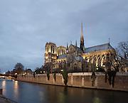 France, Paris, Ile de la Cité, Notre Dame de Paris, 1163 - 1345, initiated by the bishop Maurice de Sully, view from Quai de Montebello Picture by Manuel Cohen