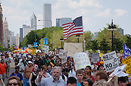 Chicago Illinois, May 20, 2012,  Thousands take part in an anti-NATO march through Chicago on the first day of the NATO summit. The march was lead by Veterans for Peace and included Occupy Wall Street, and members of the Occupy movement from across the country.