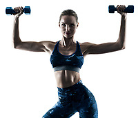 one caucasian woman exercising fitness weights excercises in silhouette isolated on white background