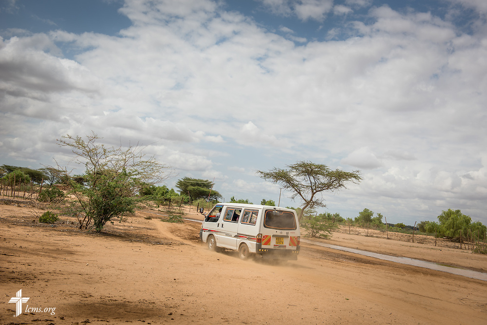 A driver pilots a van carrying Kenyan medical workers to an LCMS Mercy Medical Team site on Monday, June 20, 2016, in Turkana, Kenya.  LCMS Communications/Erik M. Lunsford