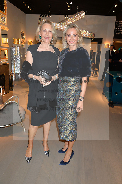 Left to right, LUCE CHURCHILL and CORINNA SAYN-WITTGENSTEIN at the PAD London 2015 VIP evening held in the PAD Pavilion, Berkeley Square, London on 12th October 2015.