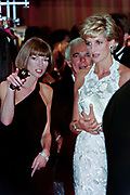 Diana, Princess of Wales walks with fashion designer Ralph Lauren, center, and Vogue Magazine editor Anna Wintour, left, during a charity gala fundraising event for the Nina Hyde Center for Breast Cancer Research September 24, 1996 in Washington, DC.