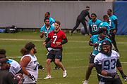 Carolina Panthers quarterback Kyle Allen(7) warming up during minicamp at Bank of America Stadium, Thursday, June 13, 2019, in Charlotte, NC. (Brian Villanueva/Image of Sport)