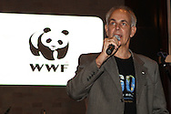Dr Morne du Plessis addresses the crowd during the WWF - Earth Hour Event held at the amphitheatre at the Victoria and Alfred Waterfront in Cape Town, South Africa on the 29th March 2014<br /> <br /> <br /> Photo by: RON GAUNT