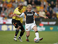 Photo: Lee Earle.<br /> Watford v Hull. Coca Cola Championship. 30/04/2006. Hull's Stuart Green (R) battles with Jordan Stewart.