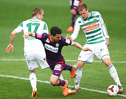 06.04.2014, Generali Arena, Wien, AUT, 1. FBL, FK Austria Wien vs SK Rapid Wien, 31. Runde, im Bild Christopher Dibon, (SK Rapid Wien, #17), Philipp Hosiner, (FK Austria Wien, #16) und Brian Behrendt, (SK Rapid Wien, #3) // during Austrian Bundesliga Football 31st round match, between FK Austria Vienna and SK Rapid Vienna at the Generali Arena, Wien, Austria on 2014/04/06. EXPA Pictures © 2014, PhotoCredit: EXPA/ Thomas Haumer