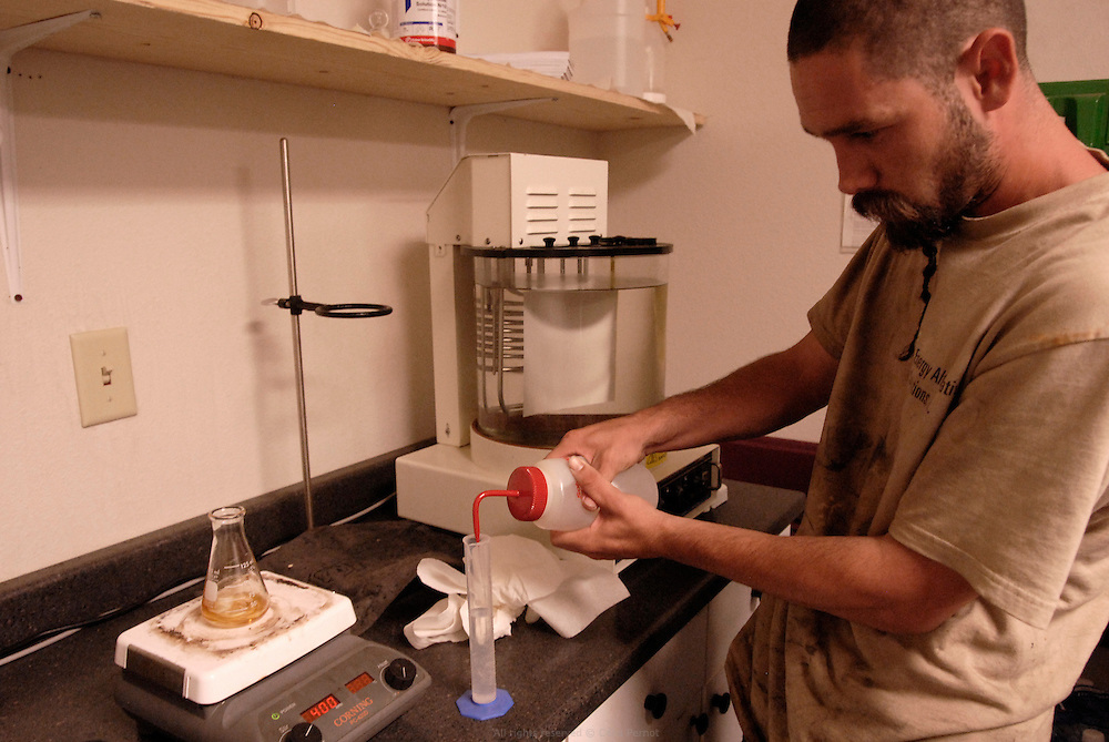 After the transesterification process, test are made to check it is well B100 or pure biodiesel that will be deliver to pumps. BIOEASI, Energy Alternative Solutions Inc. was founded in 2006 and recycles 150,000 pounds of waste vegetable oil into biodiesel each week..California, USA, September 2008