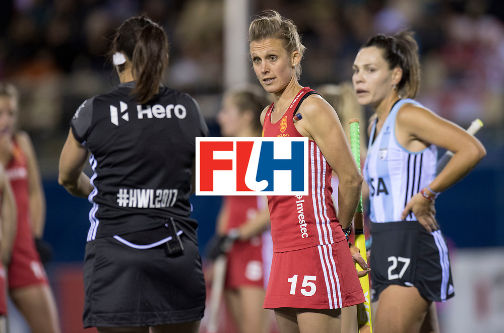 AUCKLAND - Sentinel Hockey World League final women<br /> Match id 10298<br /> 08 Argentina v England 1-0<br /> Foto: Alex Danson (C)  discusses with the umpire.<br /> WORLDSPORTPICS COPYRIGHT FRANK UIJLENBROEK