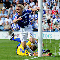 Peterboro Utd FC vs Sheffield Wednesday FC Championship 15/08/09<br /> Photo Nicky Hayes/Fotosports International<br /> Craig Mackail-Smith celebrates scoring Peterboro's equaliser.