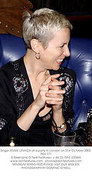 Singer ANNIE LENNOX at a party in London on 21st October 2002.<br />